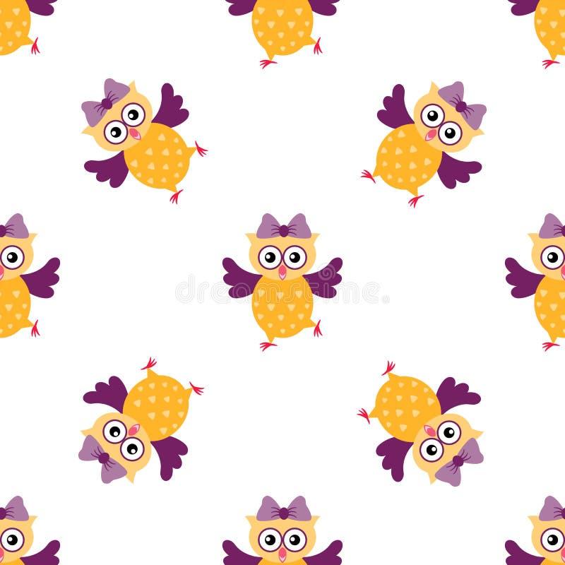 与滑稽的动画片猫头鹰的无缝的样式 皇族释放例证