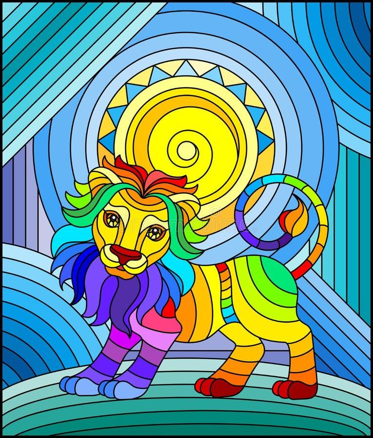 与滑稽的彩虹狮子和太阳的彩色玻璃例证在抽象背景 皇族释放例证