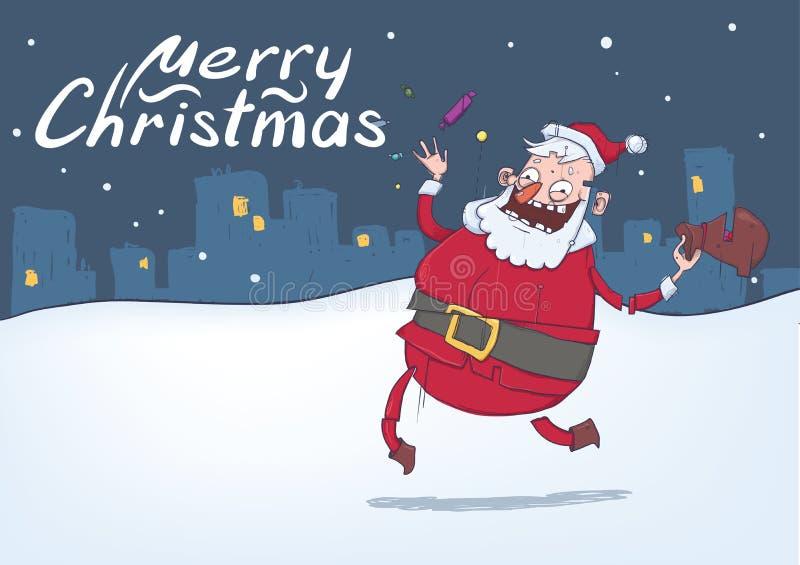 与滑稽的微笑的圣诞老人的圣诞卡 圣诞老人带来礼物并且投掷在多雪的夜城市背景的糖果 皇族释放例证