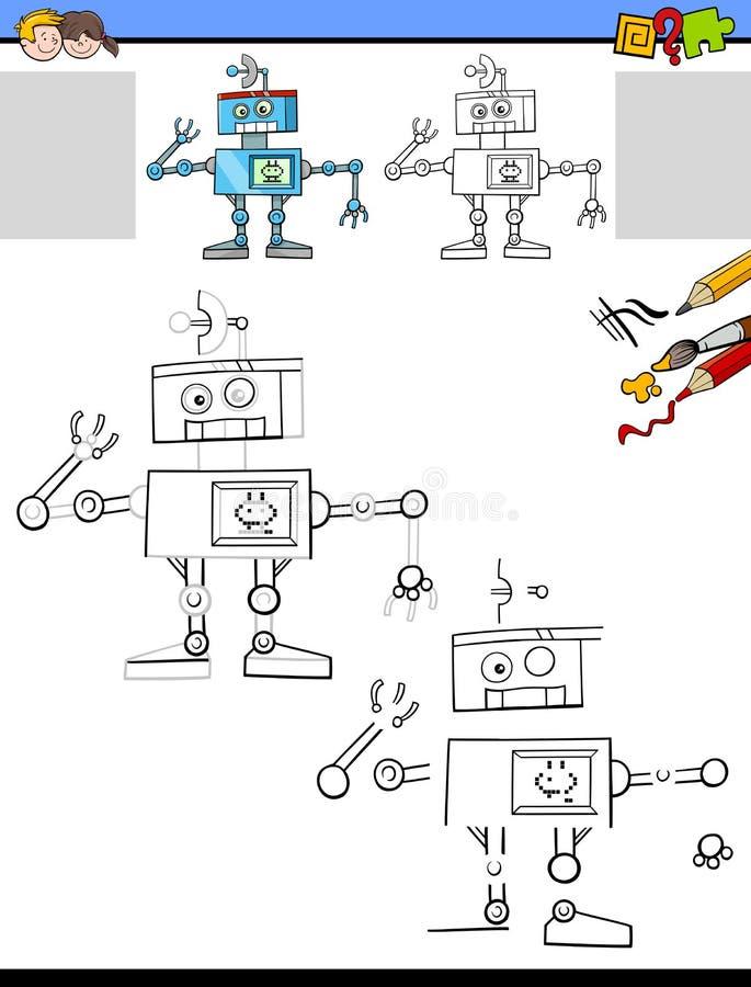 与滑稽的机器人的画的和上色活页练习题 皇族释放例证