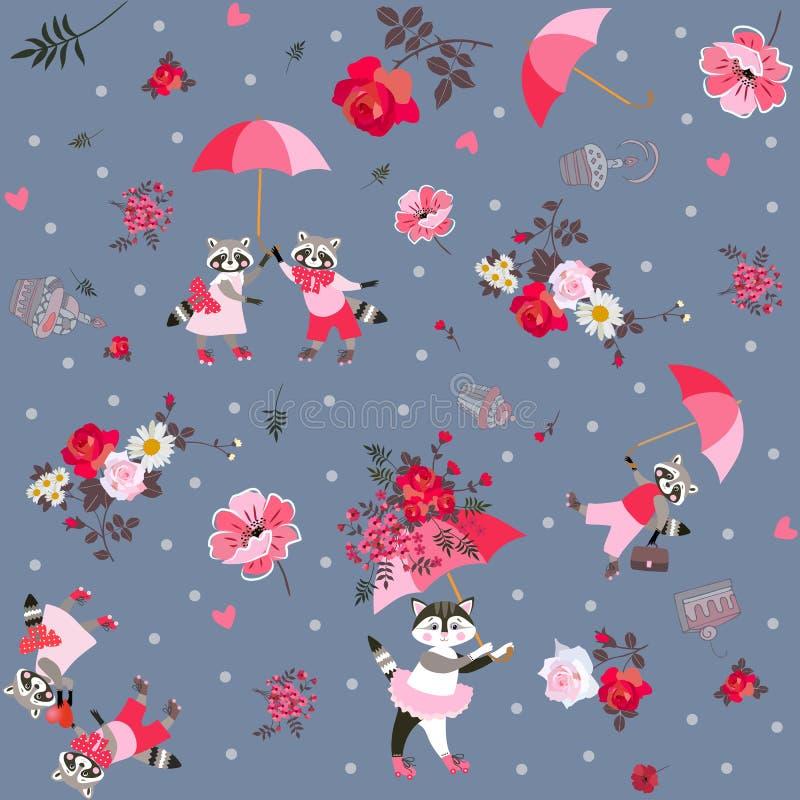 与滑稽的浣熊、可爱的小猫与伞,蛋糕、叶子和庭院花的美好的不尽的样式 库存例证