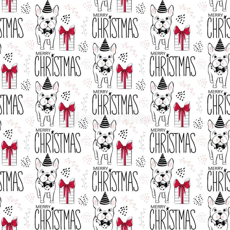 与滑稽的狗的假日无缝的样式 新年好宠物 快活背景的圣诞节 冬天设计 动物动画片被画的现有量查出的向量白色 库存例证