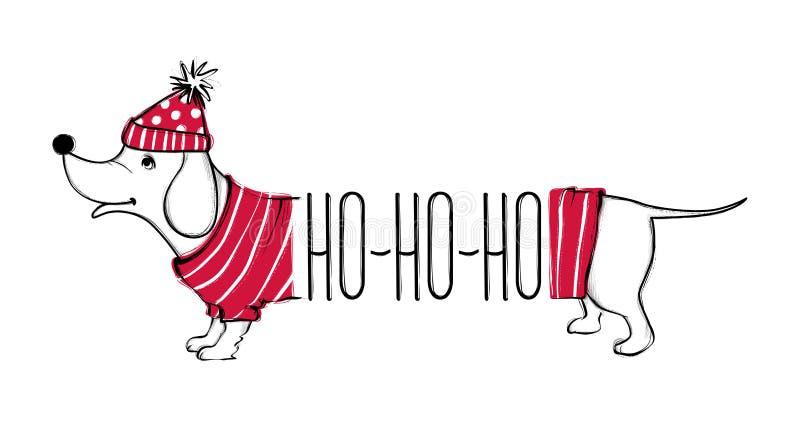 与滑稽的狗的圣诞节例证 与红色毛线衣和帽子的手拉的传染媒介鸦片 新年好汇集 免版税库存图片
