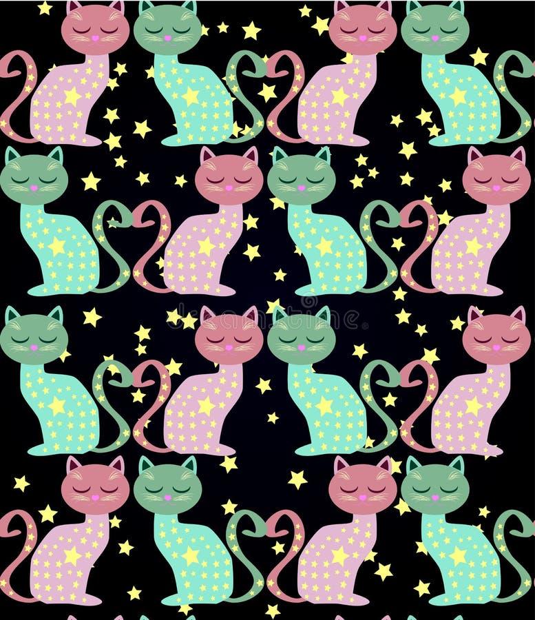 与滑稽的猫和花的逗人喜爱的无缝的背景在动画片样式 皇族释放例证