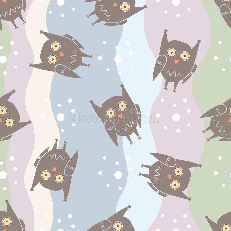 与滑稽的猫头鹰的平的无缝的样式在五颜六色的背景 皇族释放例证