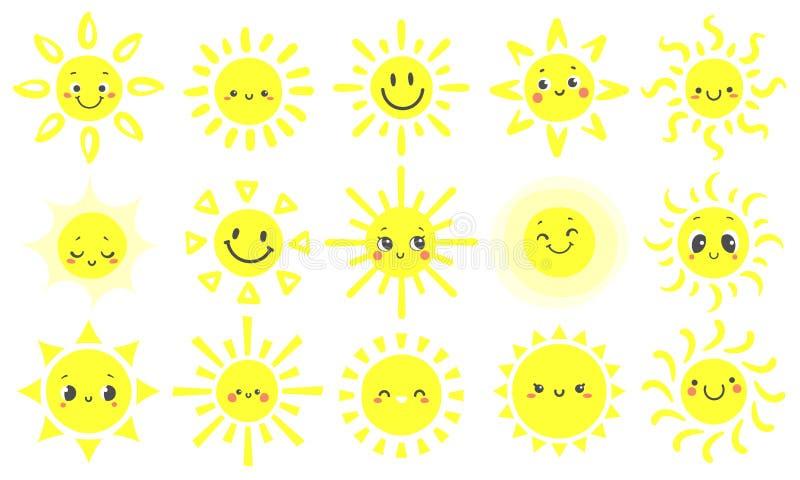 手拉的太阳 与滑稽的笑容、温暖的光亮的阳光和开心太阳动画片传染媒介的逗人喜爱的明亮的太阳 向量例证