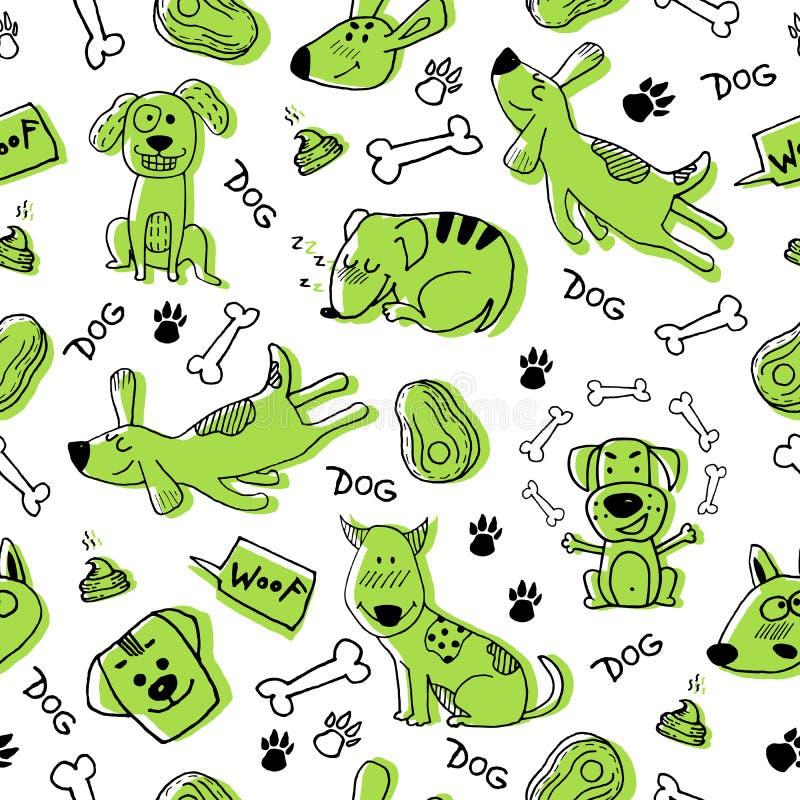 与滑稽的绿色狗、爪子印刷品和骨头的手乱画 传染媒介无缝的样式墙纸,背景 逗人喜爱的表面设计为 皇族释放例证