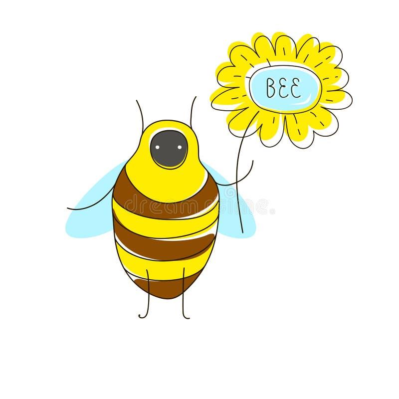 与滑稽的臭虫的逗人喜爱的动画片概念:蜂、花和名字文本 向量例证
