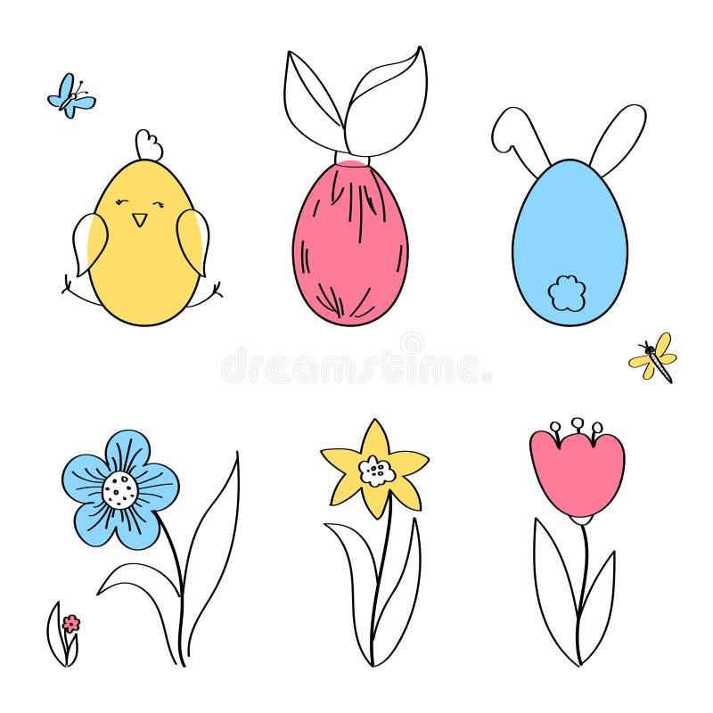 与滑稽的逗人喜爱的鸡和兔子,花,昆虫,平的传染媒介例证的复活节水平的边界 皇族释放例证
