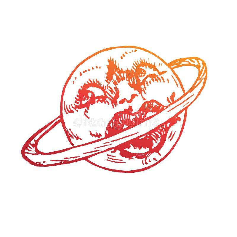 与滑稽的面孔叮咬的土星他的圆环,c丈夫嘴唇,古板的木刻样式设计,手拉的乱画,剪影 皇族释放例证