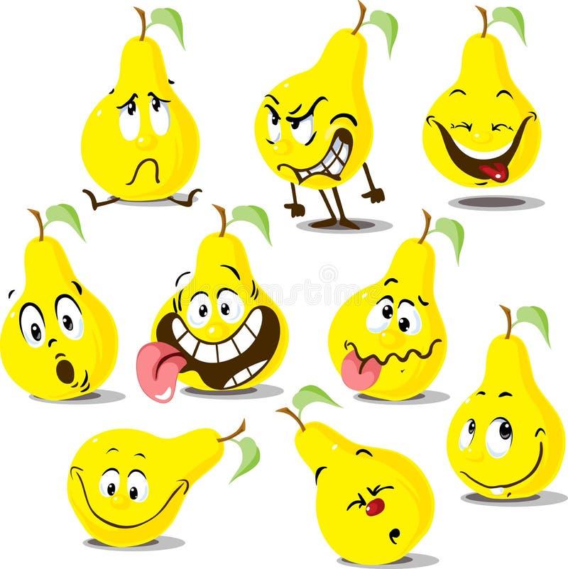 与滑稽的面孔的梨平的设计逗人喜爱的动画片例证字符和许多情感 向量例证