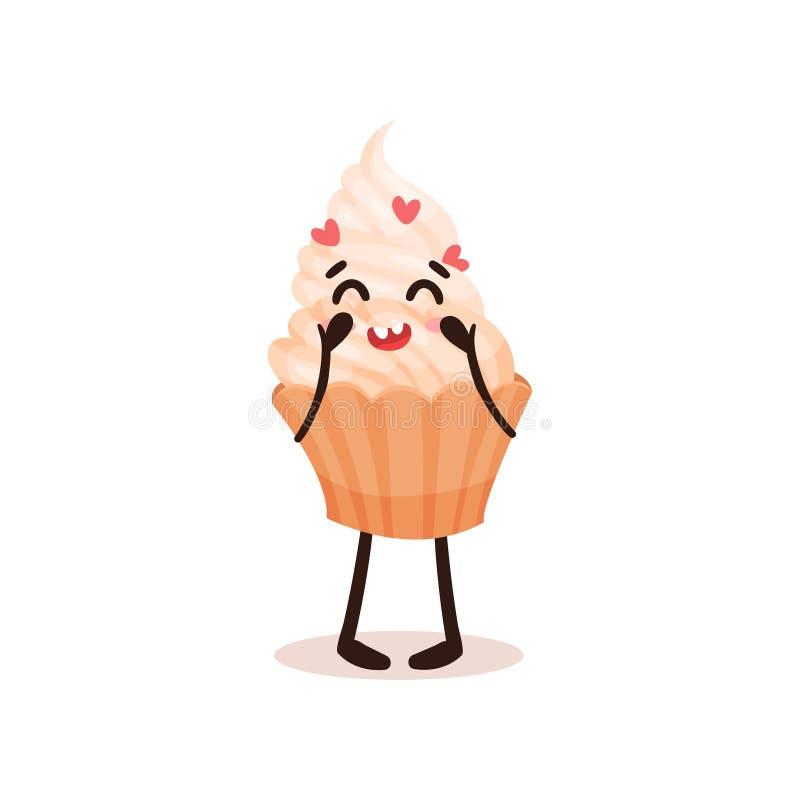 与滑稽的面孔,在白色背景的被赋予人性的点心漫画人物传染媒介例证的逗人喜爱的杯形蛋糕 库存例证