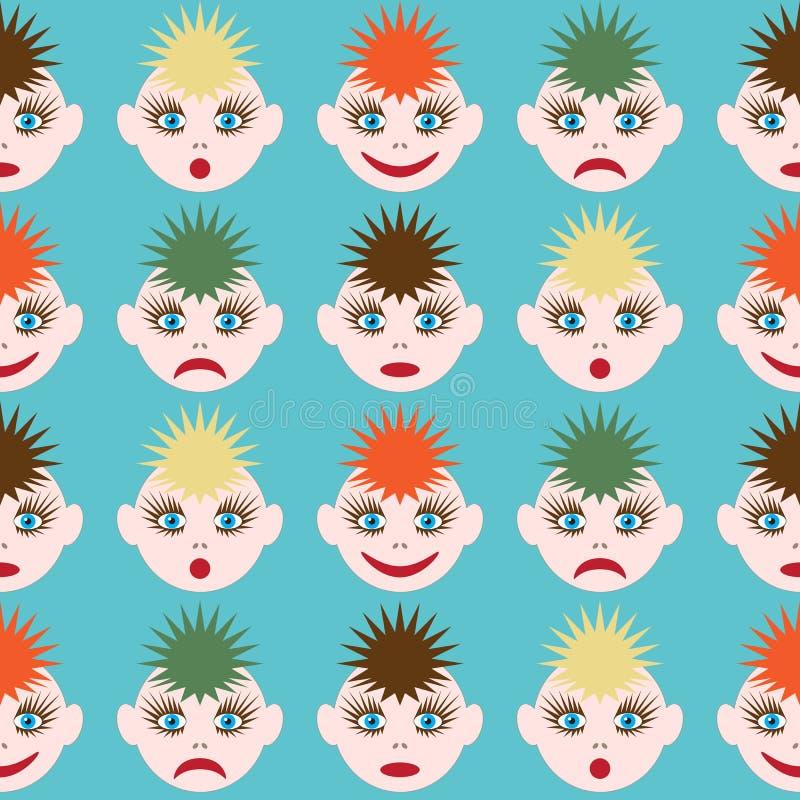 与滑稽的面带笑容的无缝的样式 不同颜色和不同的情感的色的头发的图象 eps10开花橙色模式缝制的rac ric缝的镶边修整向量墙纸黄色 向量例证