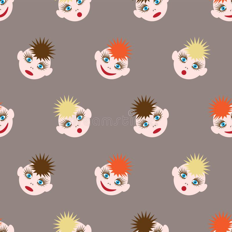与滑稽的面带笑容的无缝的样式 不同颜色和不同的情感的色的头发的图象 eps10开花橙色模式缝制的rac ric缝的镶边修整向量墙纸黄色 皇族释放例证