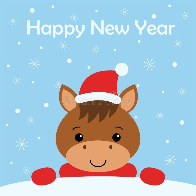 与滑稽的马的圣诞快乐和新年快乐卡片 雪背景 库存例证