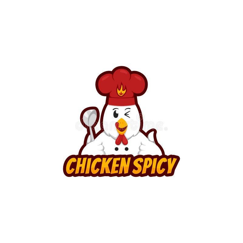 与滑稽的鸡字符藏品杓子的鸡辣商标吉祥人和戴在动画片样式的厨师帽子 皇族释放例证