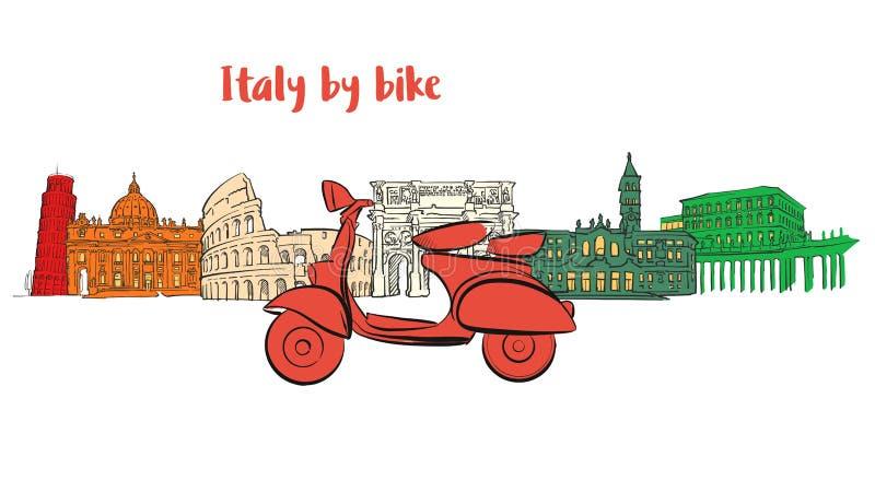与滑行车的意大利著名旅行象 向量例证