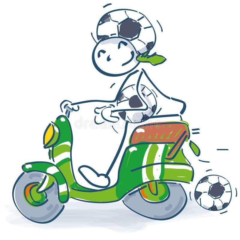 与滑行车的棍子形象作为足球迷 皇族释放例证