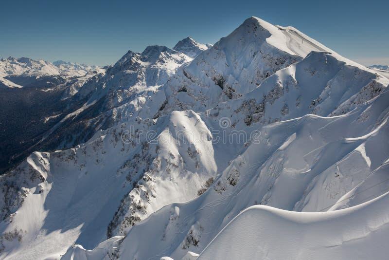 与滑雪和雪板踪影的积雪的山脉  免版税图库摄影