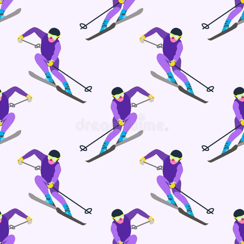 与滑雪sportsmans的样式在行动 皇族释放例证