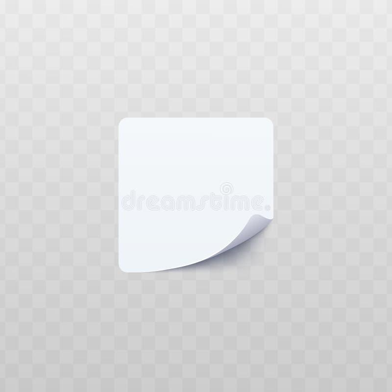 与滚动的或扭转的壁角现实样式的白方块贴纸 向量例证