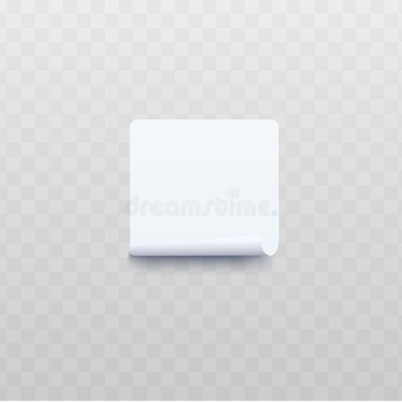 与滚动的或扭转的边缘现实样式的白方块贴纸 向量例证