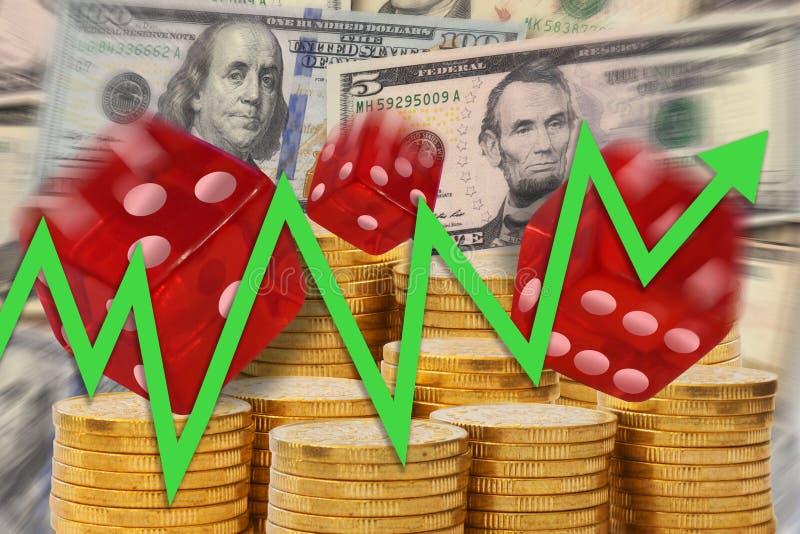与滚动的箭头的企业图上升在金黄金钱堆,美元笔记背景和把显示赌博切成小方块与econ 向量例证