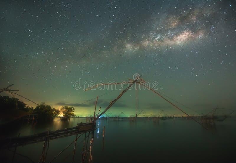 ?? 与满天星斗的天空的空间背景 意想不到的夜风景 免版税库存照片