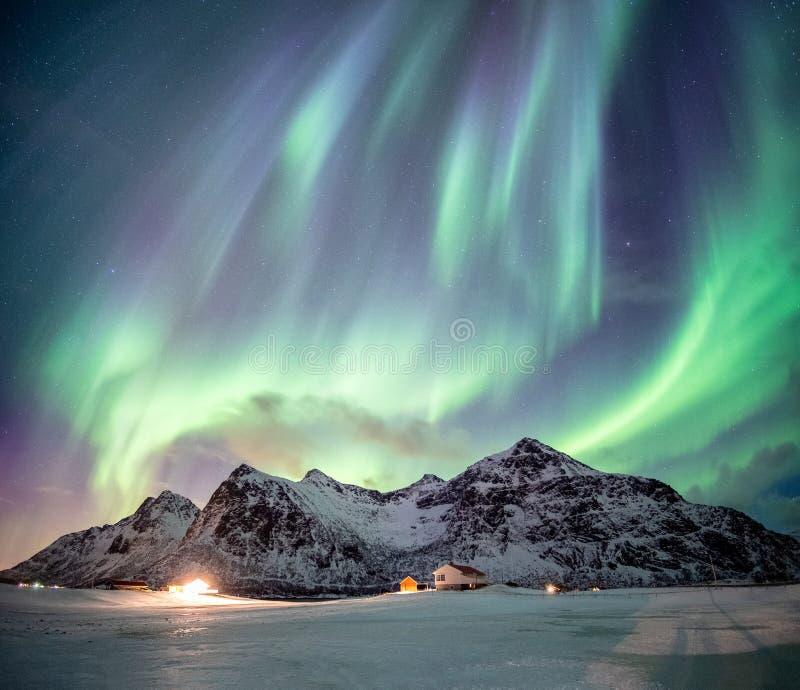 与满天星斗的跳舞的意想不到的极光borealis在雪山 免版税库存照片