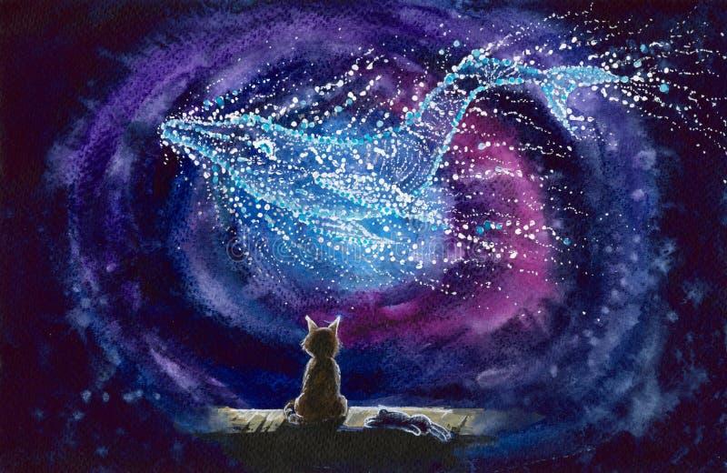 与满天星斗的鲸鱼星座的水彩猫 皇族释放例证