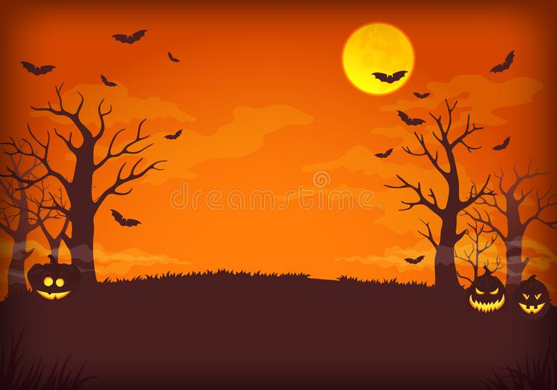 与满月、云彩、棒、树和南瓜的鬼的橙色和紫色夜背景 库存例证