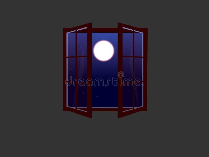 与满月和星的一个开窗口 城市点燃晚上场面 皇族释放例证
