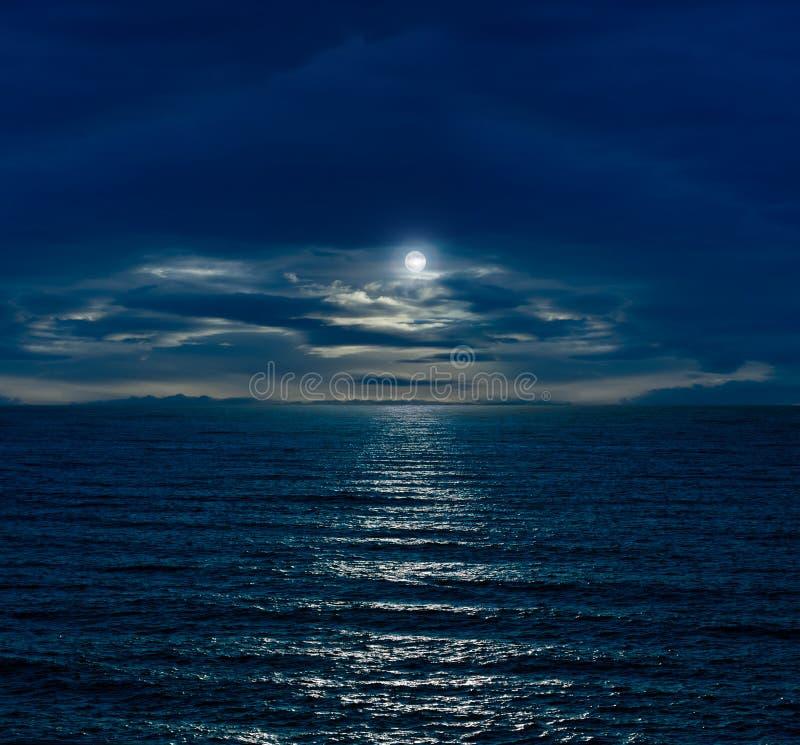 与满月的夜空 库存图片