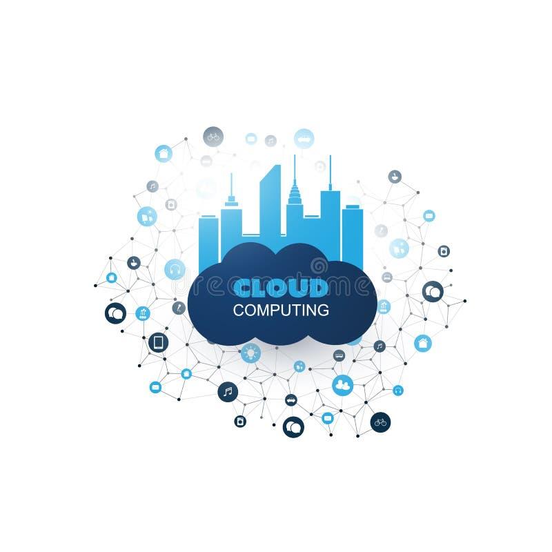 与滤网,代表各种各样的聪明的设备和服务的被连接的象的云彩计算的设计观念 皇族释放例证