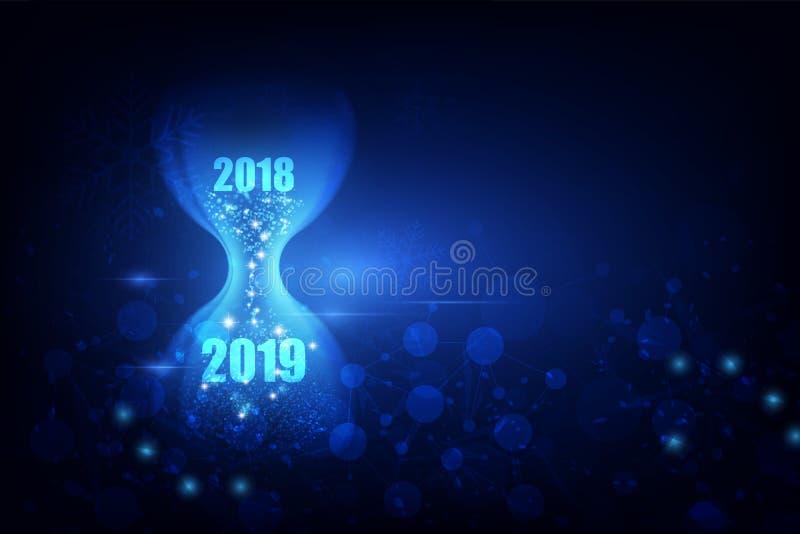 与滴漏概念的新年2019年 也corel凹道例证向量 向量例证