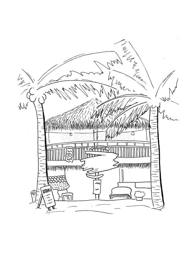 与漂流木头手拉的剪影的木小屋 热带前政务司官邸建筑学 黑白色旅行剪影 皇族释放例证