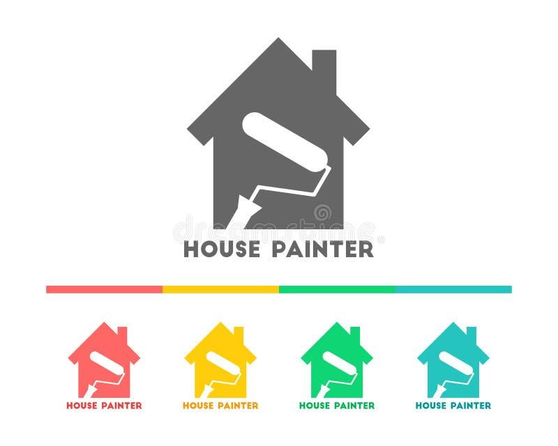 与漆滚筒的房屋油漆工商标 库存例证