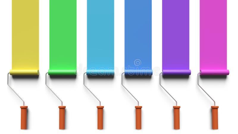 与漆滚筒的绘画掠过3d翻译 向量例证