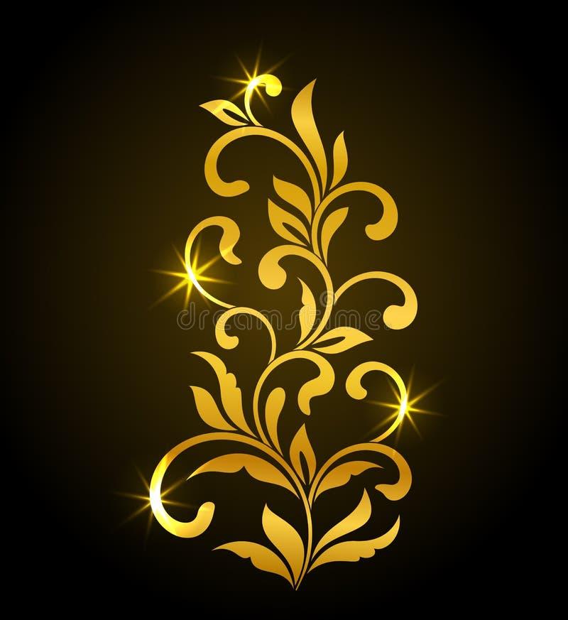 与漩涡和叶子的金黄装饰花卉元素在黑暗的背景 钢板蜡纸的理想 向量例证