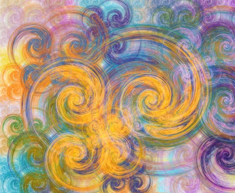 与漩涡的多彩多姿的分数维在白色背景 库存例证
