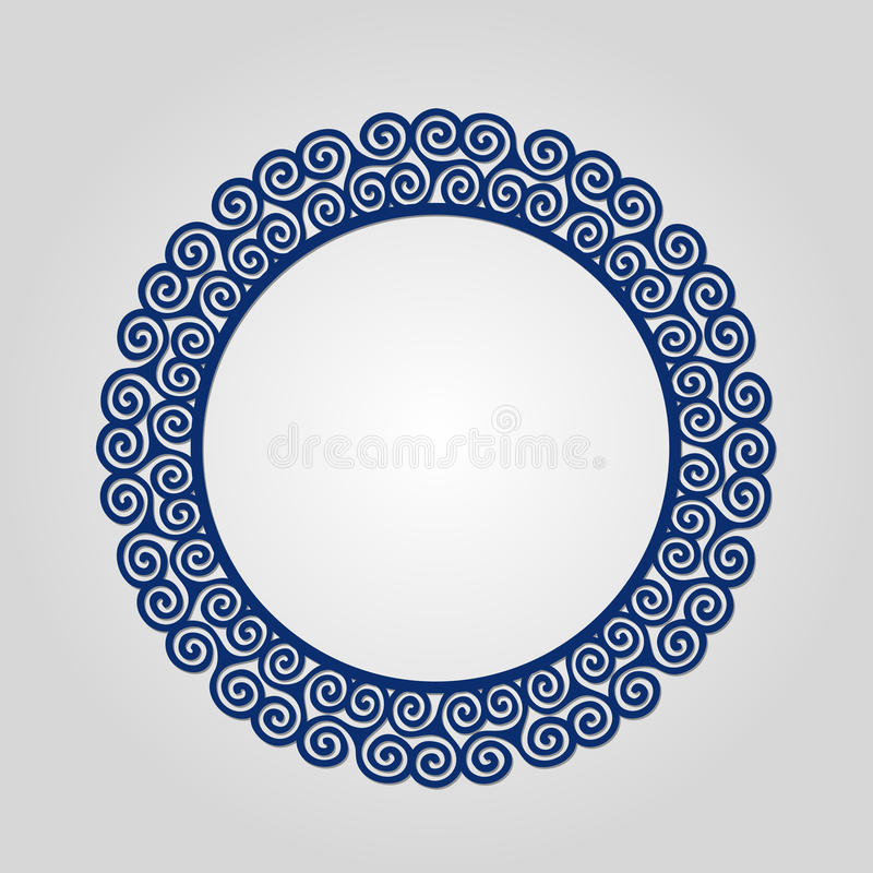与漩涡的抽象圈子框架,传染媒介装饰品,葡萄酒框架 为lasercutting使用 皇族释放例证