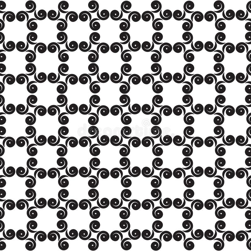 与漩涡的方格的无缝的样式 库存例证