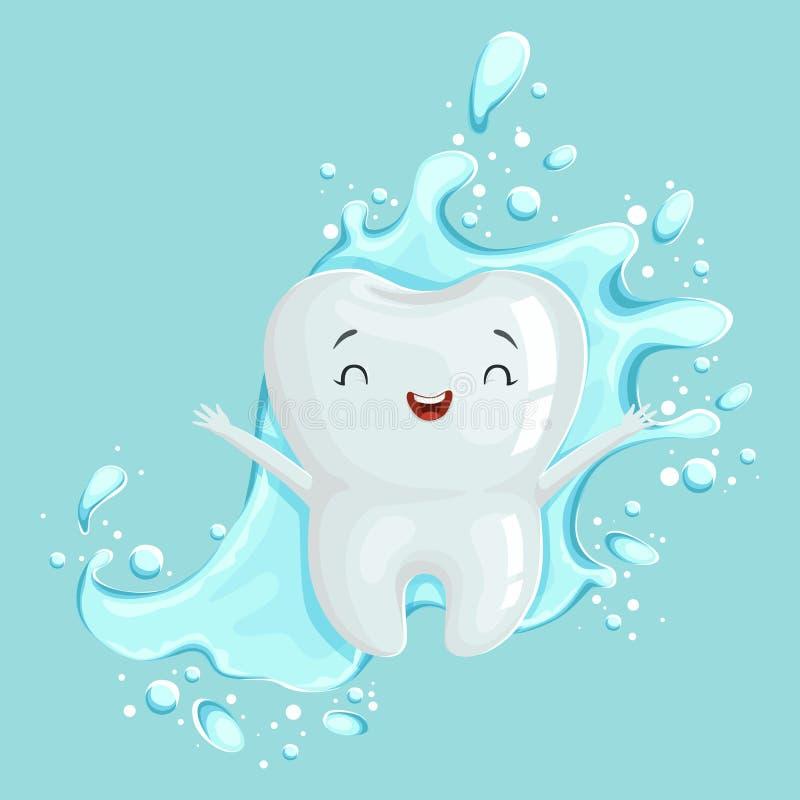 与漱口的逗人喜爱的健康白色动画片牙字符,口头牙齿卫生学,儿童的牙科概念传染媒介 皇族释放例证