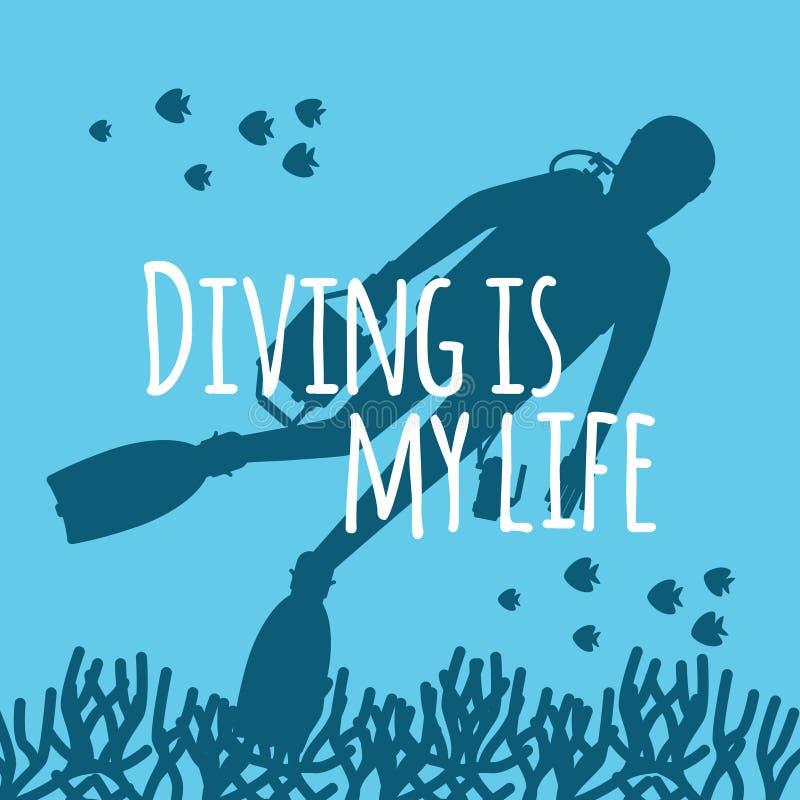 与潜水者剪影传染媒介例证的佩戴水肺的潜水背景 库存例证