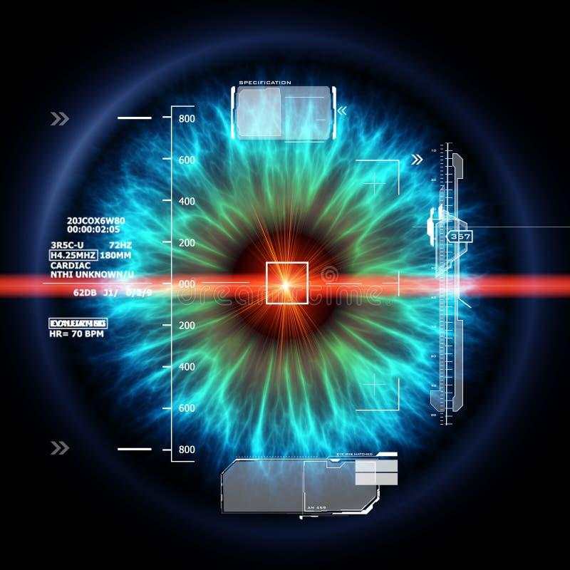 与激光光芒的未来派眼睛 向量例证