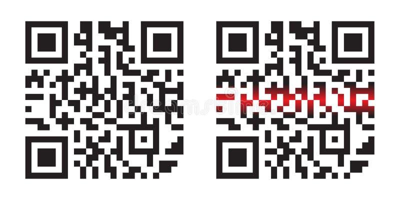 与激光束的现代简单的QR代码在白色背景隔绝的传染媒介例证 向量例证