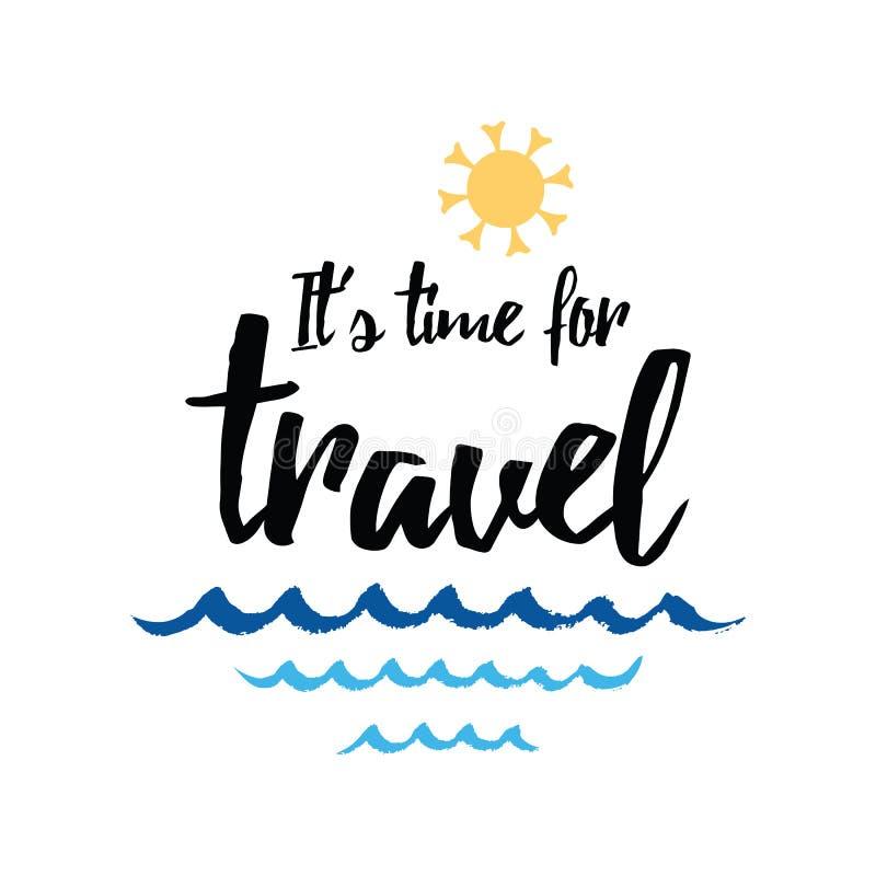 与激动人心的行情的旅行印刷横幅,太阳,海挥动,海洋 库存例证