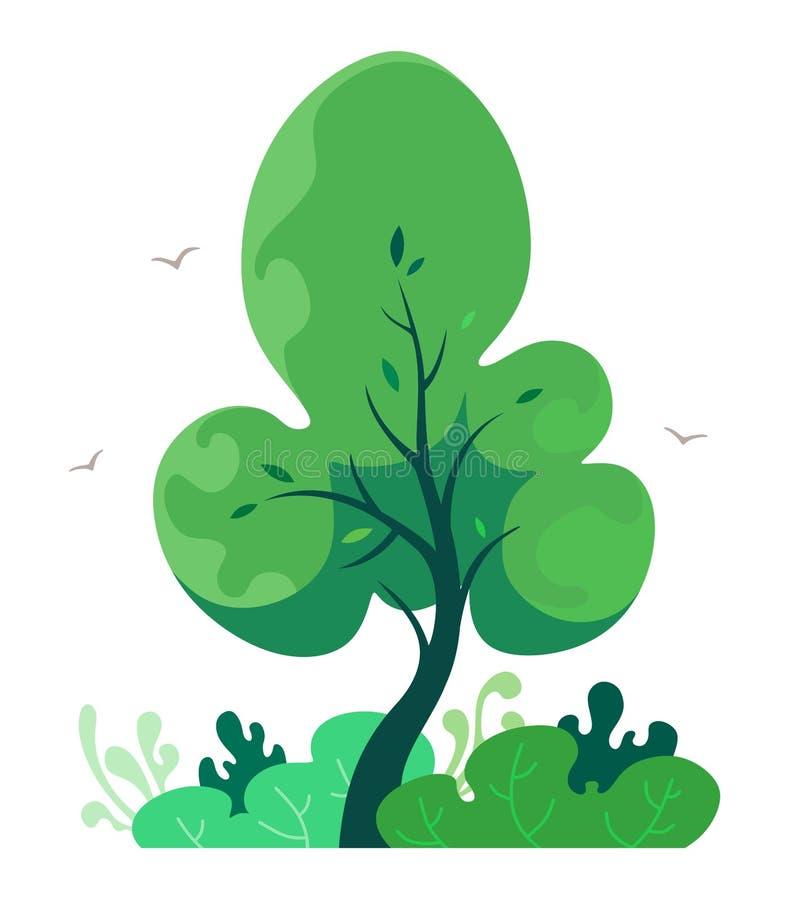 与灌木的逗人喜爱的树在动画片样式,童话元素 在白色背景的传染媒介孤立 库存例证