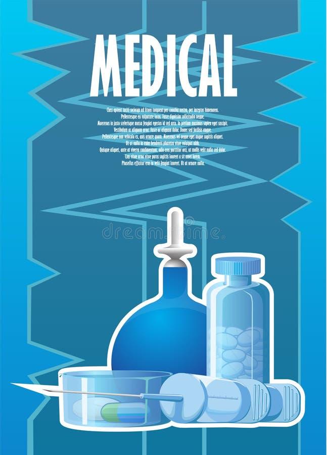 与灌肠和一个医疗注射器的一张被绘的海报 库存例证