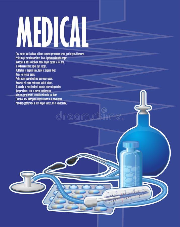 与灌肠和听诊器的一张被绘的医疗海报 库存例证
